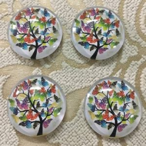 Butterfly Tree Glass Cabochons