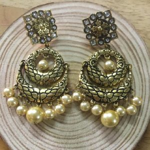 Ethnic Antique Gold and Enamel Chandbali Earrings