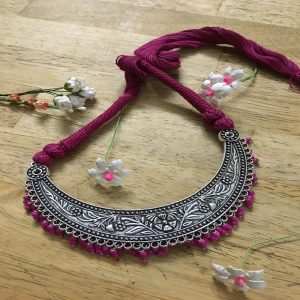 Crescent Shape Pendant And Dark Pink Rope Necklace