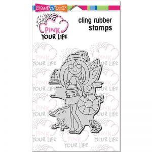 Pink Your Life Cling Stamp - Whisper Friends - Beach Girl