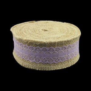 Mauve Lace With Jute Burlap Ribbon