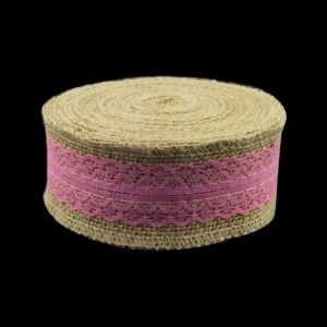 Pink Lace With Jute Burlap Ribbon