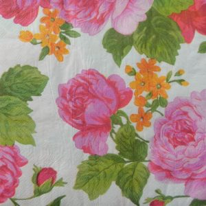 Pink Rose With Leaf & Orange Flower Decoupage Napkin