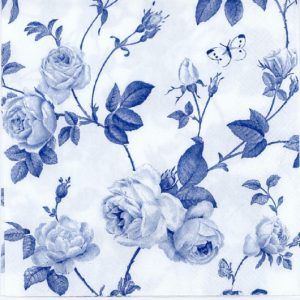 Blue Roses And Butterfly Decoupage Napkin