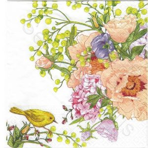 Bird On Flowers Decoupage Napkin