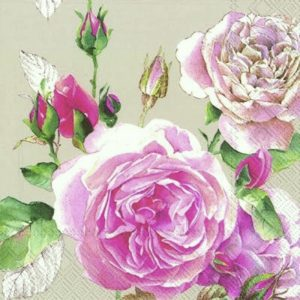 Rose With Leaf Decoupage Napkin