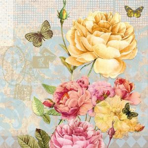 Yellow & Pink Flowers With Butterfly Decoupage Napkin