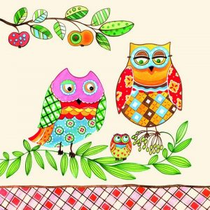Family Owl On Branch Decoupage Napkin