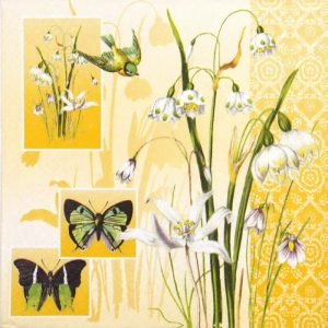 Bird, Flower & Butterfly Decoupage Napkin