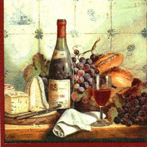 Wine And Red Cheese Decoupage Napkin