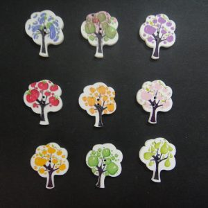 Mixed Fruit Tree Wooden Button