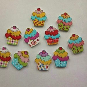 Cupcake With Cherry Wooden Buttons