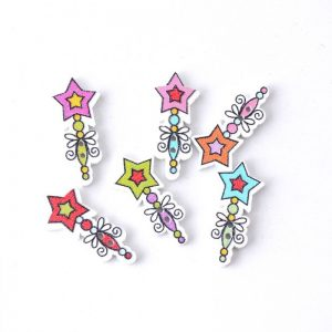 Fairy Magic Wand Wooden Buttons