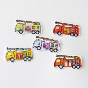 Fire Truck Wooden Buttons