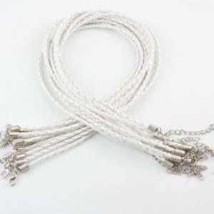 White Braided Leather Necklace Cord