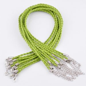 Green Braided Leather Necklace Cord