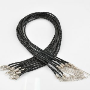 Black Braided Leather Necklace Cord