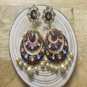 Ethnic Red and Blue Enamel Chandbali Earrings