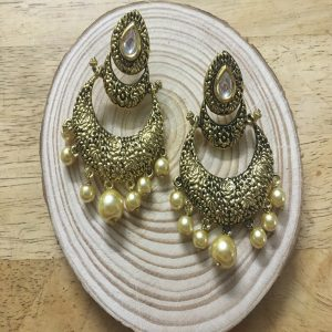 Ethnic Antique Gold Chandbali Earrings