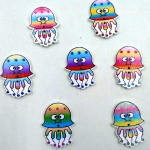 Jellyfish Wooden Buttons