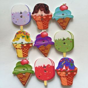 Mixed Ice Cream Wooden Buttons
