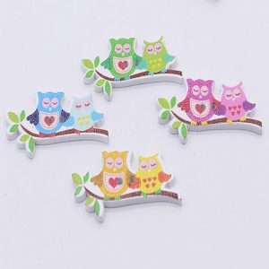 Owl Couple On Tree Branch Wooden Buttons