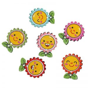 Smiling Sunflower Wooden Buttons