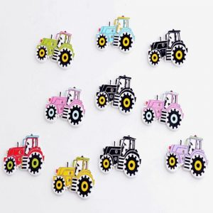 Tractor Wooden Buttons