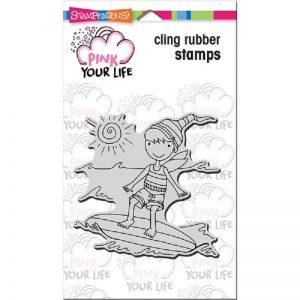 Pink Your Life Cling Stamp - Whisper Friends - Surfer