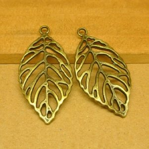 Antique Bronze Big Leaf Charm