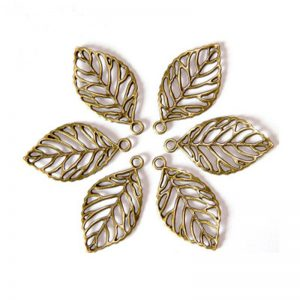 Antique Bronze Leaf Shape Charm