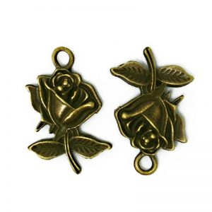 Antique Bronze Rose Charm