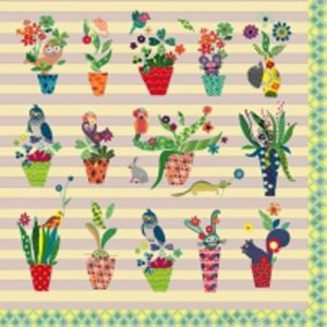 Mixed Colour Flower Pots Decoupage Napkin