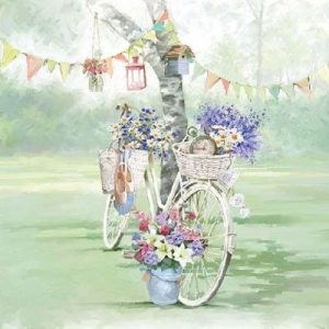Cycle Against Tree Decoupage Napkin