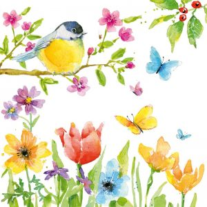 Spring Bird With Colourful Flowers Decoupage Napkin