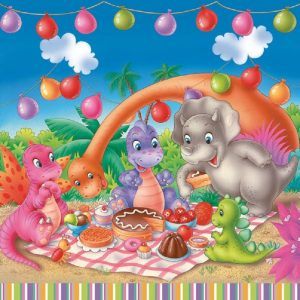 Dinosaur Picnic Party  Decoupage Napkin