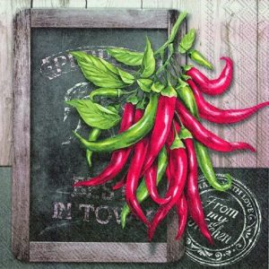 Blackboard With Chili  Decoupage Napkin