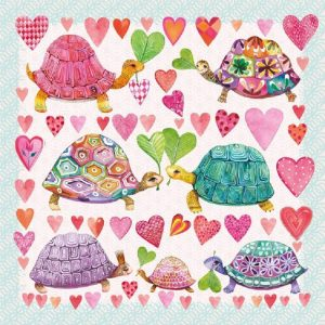 Turtles In Love Decoupage Napkin