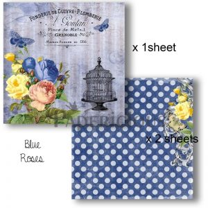 Papericious Decoupage Papers - Blue Roses