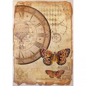 Stamperia Rice Paper - Mixed Media Clock & Butterfly