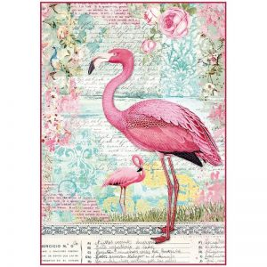 Stamperia Rice Paper - Flamingo