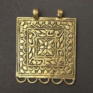 Gold Pendant -  Square With Flower