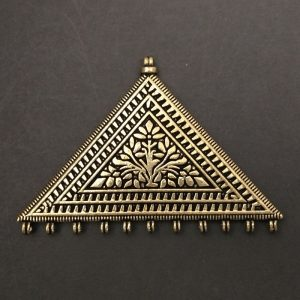 Gold Pendant - Triangle With Flower Pattern