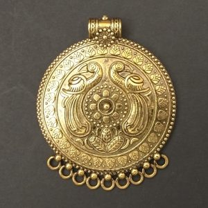 Gold Pendant - Circle With  Peacocks