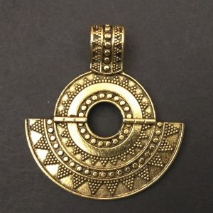 Gold Pendant - Circle with half Moon