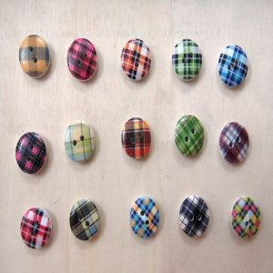 Round Plaid Pattern Wooden Buttons