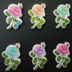 Rose With Leaf Wooden Buttons