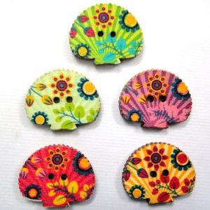 Printed Shell Wooden Buttons