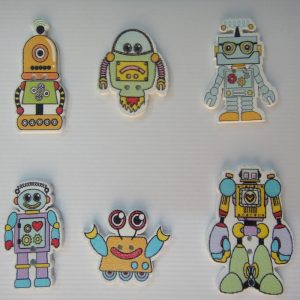 Robot Theme Wooden Buttons