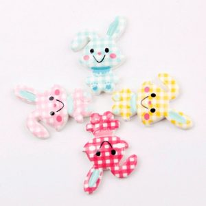 Check Pattern Rabbit Resin Embellishment